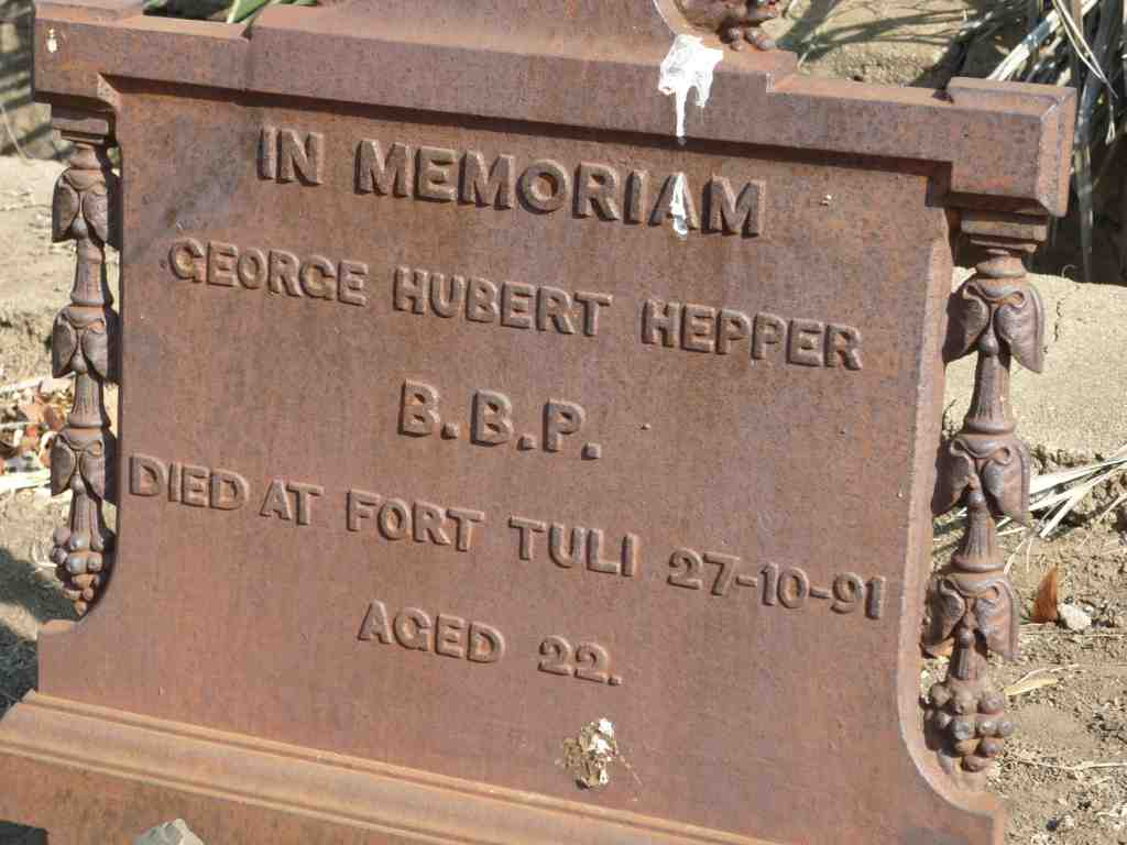 George Hubert Hepper Headstone Fort Tuli