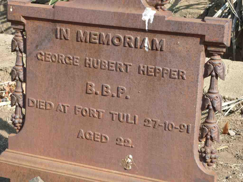 George Hubert Hepper Headstone Fort Tuli